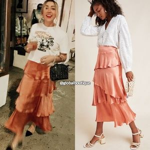 HTF NWT ANTHROPOLOGIE Cassia Tiered Maxi Skirt